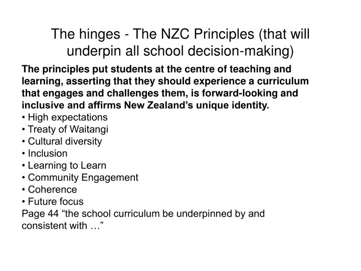 The hinges - The NZC Principles (that will