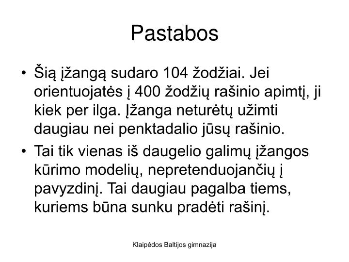 Pastabos