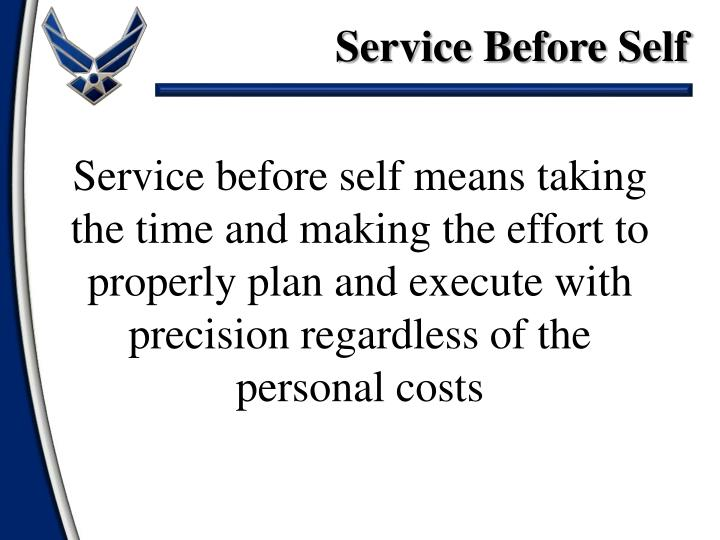 Essay on service before self