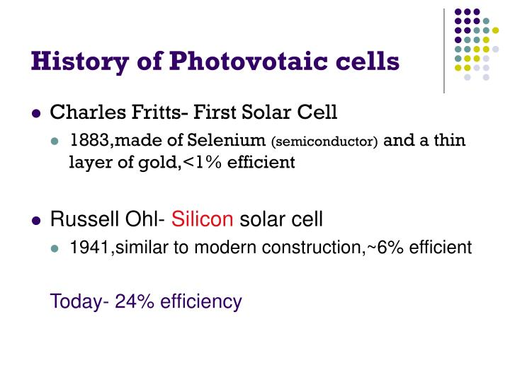 History of Photovotaic cells