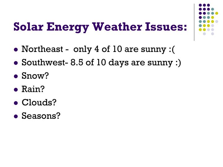 Solar Energy Weather Issues: