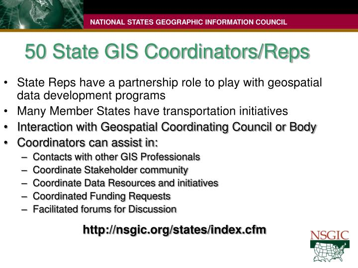 50 State GIS Coordinators/Reps