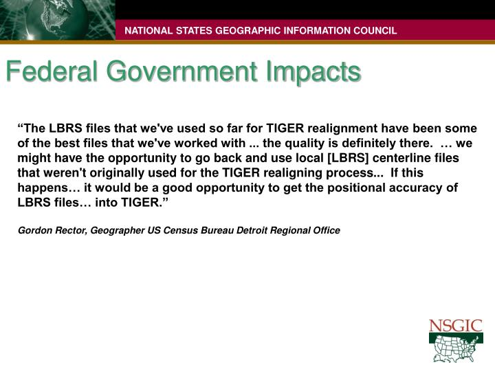 Federal Government Impacts
