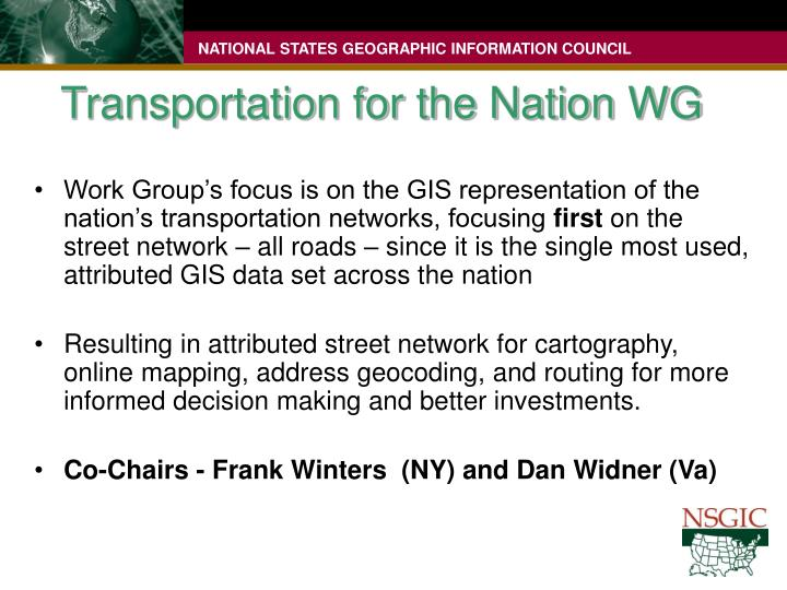 Transportation for the Nation WG