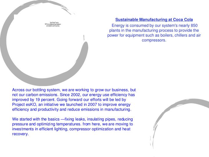 Sustainable Manufacturing at Coca Cola