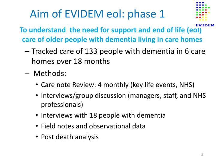 Aim of evidem eol phase 1