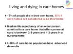 living and dying in care homes