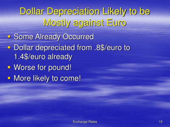Dollar Depreciation Likely to be Mostly against Euro