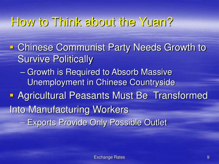 How to Think about the Yuan?