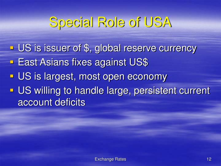 Special Role of USA