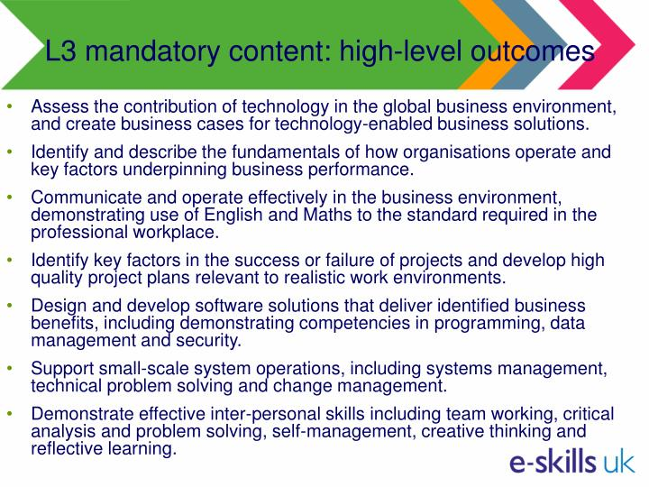 L3 mandatory content: high-level outcomes