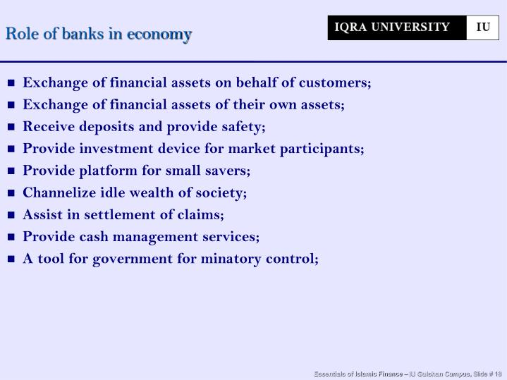 Role of banks in economy