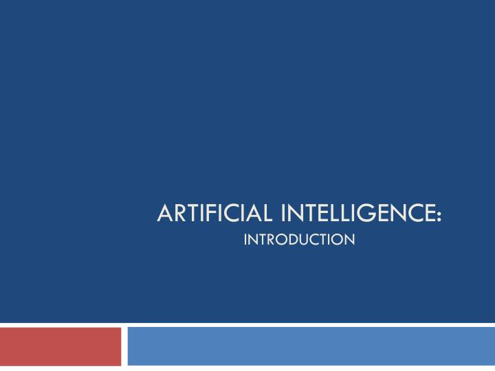 artificial intelligence introduction n.