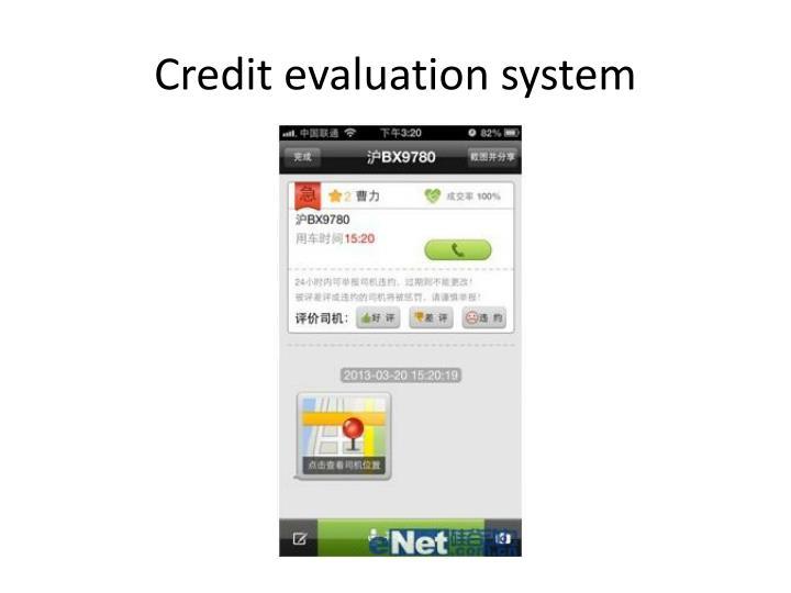 Credit evaluation system