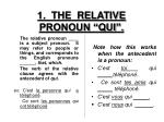 1 the relative pronoun qui
