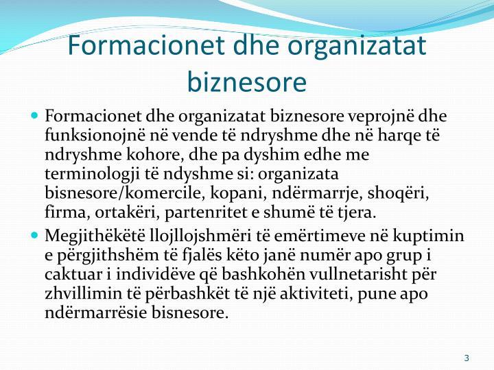 Formacionet dhe organizatat biznesore