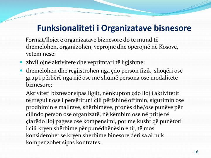 Funksionaliteti i Organizatave bisnesore