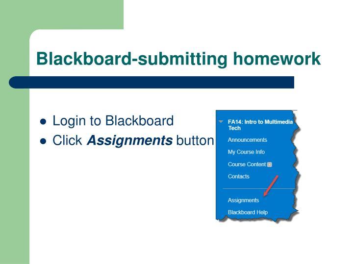 Blackboard-submitting homework