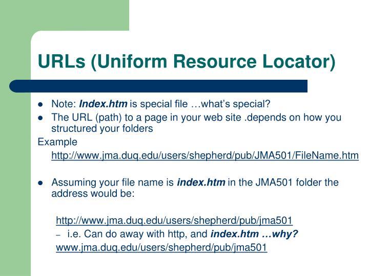 URLs (Uniform Resource Locator)