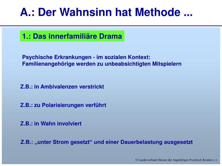 A.: Der Wahnsinn hat Methode ...