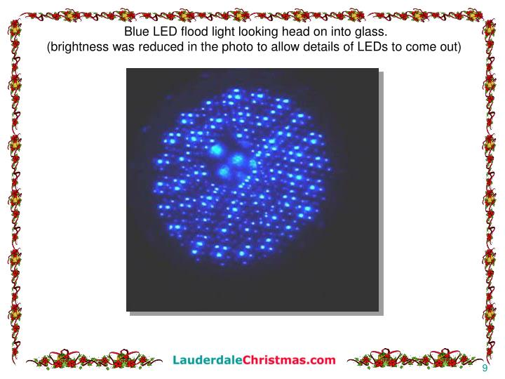Blue LED flood light looking head on into glass.