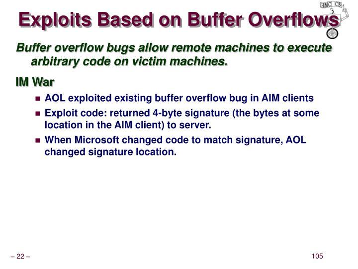 Exploits Based on Buffer Overflows