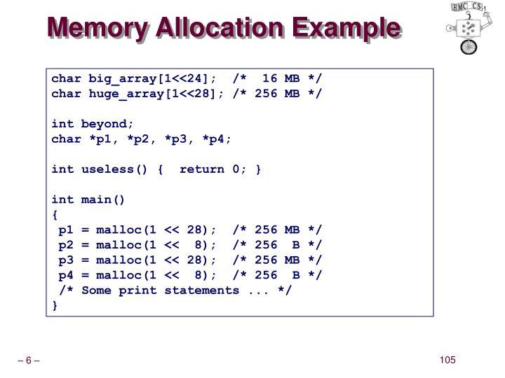 Memory Allocation Example