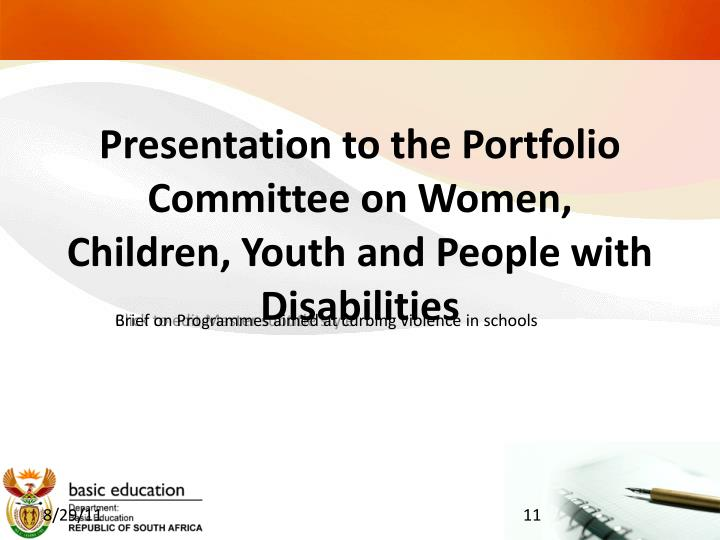 presentation to the portfolio committee on women children youth and people with disabilities n.