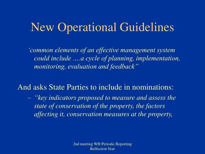 New operational guidelines