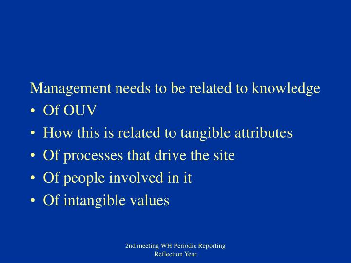 Management needs to be related to knowledge