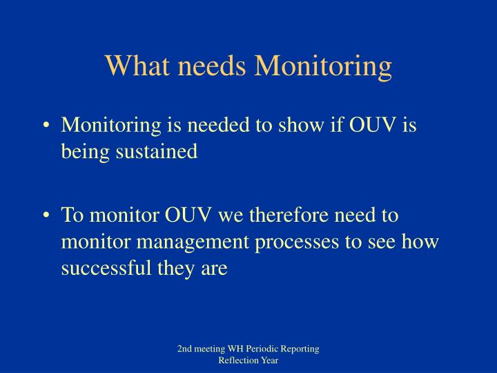 What needs Monitoring
