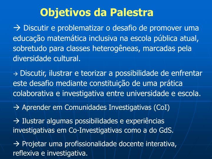 Objetivos da Palestra