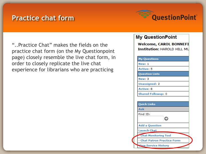 Practice chat form