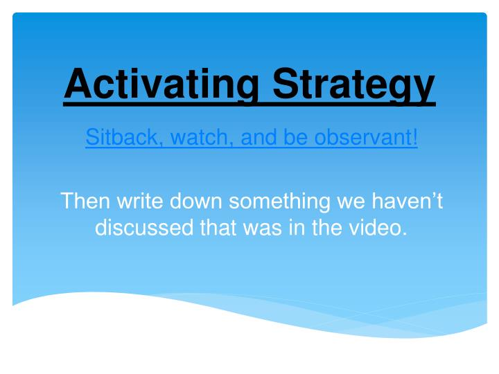 activating strategy n.