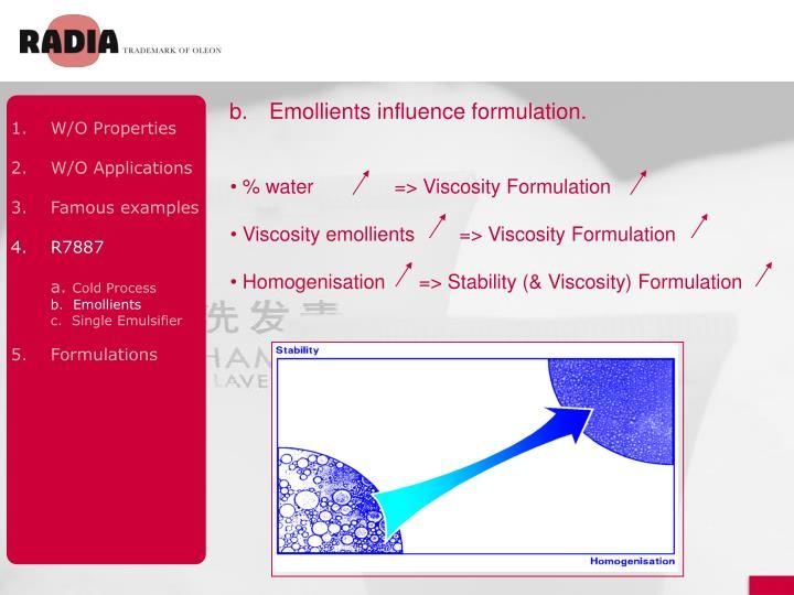 b.Emollients influence formulation.