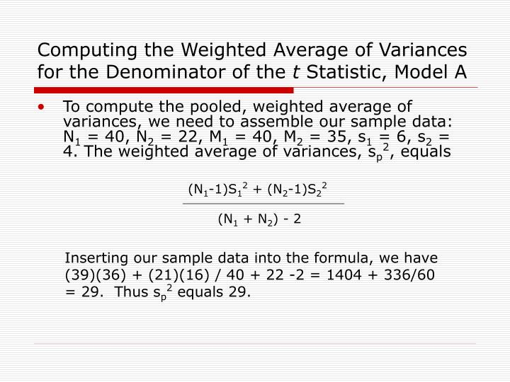 Computing the Weighted Average of Variances for the Denominator of the