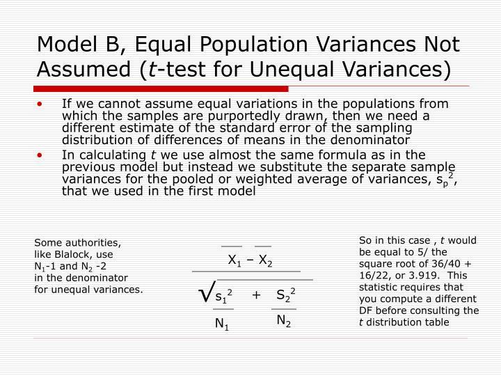 Model B, Equal Population Variances Not Assumed (