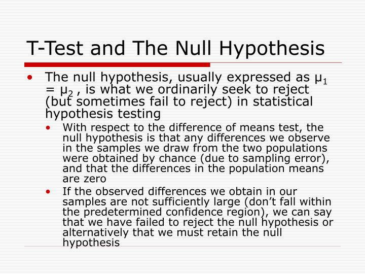 T test and the null hypothesis