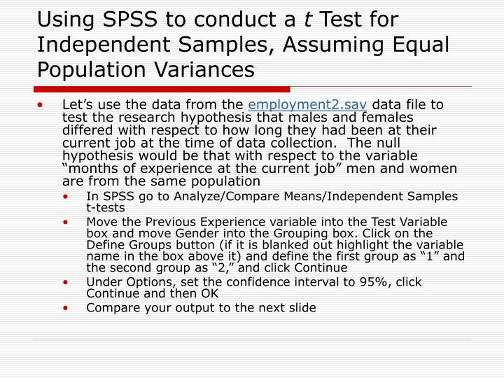Using SPSS to conduct a