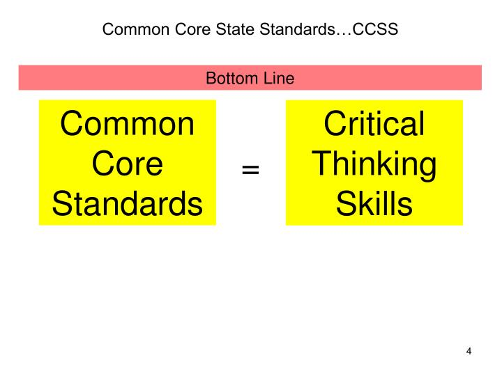 does common core teach critical thinking The common core will create opportunities to share resources and create common resources, she says we can discuss what isn't working and use our voices collectively that way we can all be part of the conversation about assessment of teaching, learning, and the standards themselves.