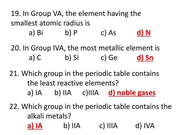 19. In Group VA, the element having the smallest atomic radius is