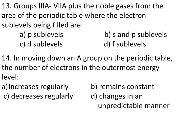 13. Groups IIIA- VIIA plus the noble gases from the area of the periodic table where the electron sublevels being filled are: