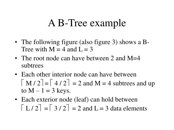 A B-Tree example