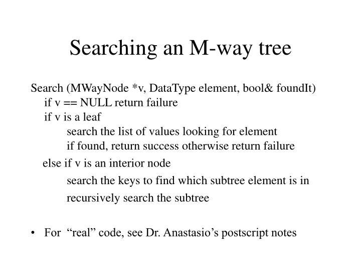 Searching an M-way tree