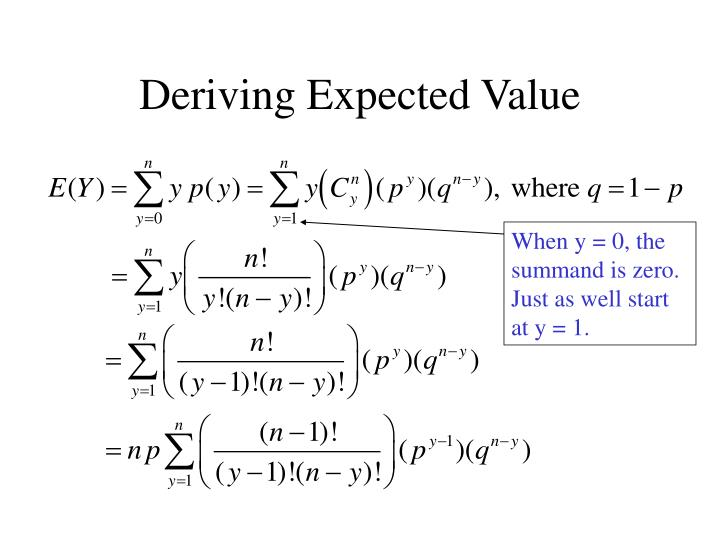 When y = 0, the summand is zero.  Just as well start at y = 1.