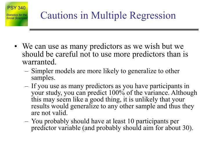 Cautions in Multiple Regression