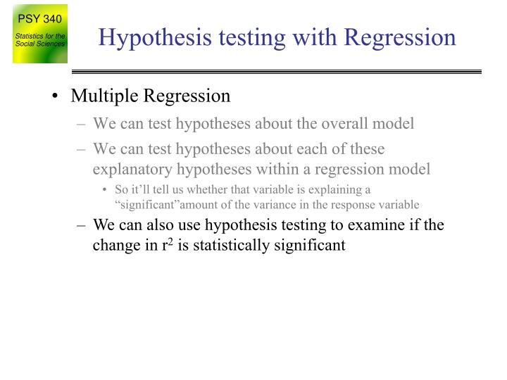 Hypothesis testing with Regression