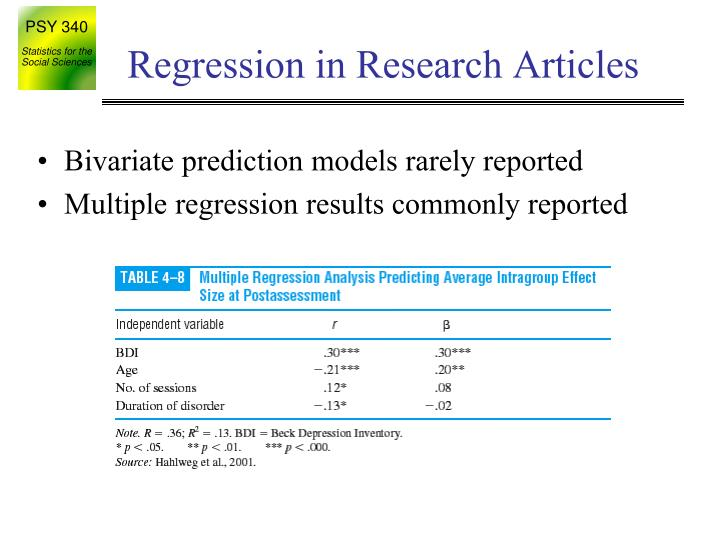 Regression in Research Articles