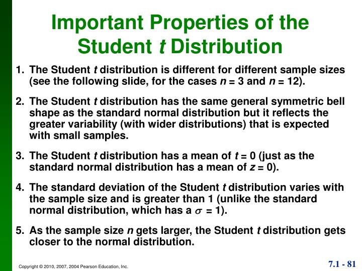 Important Properties of the               Student