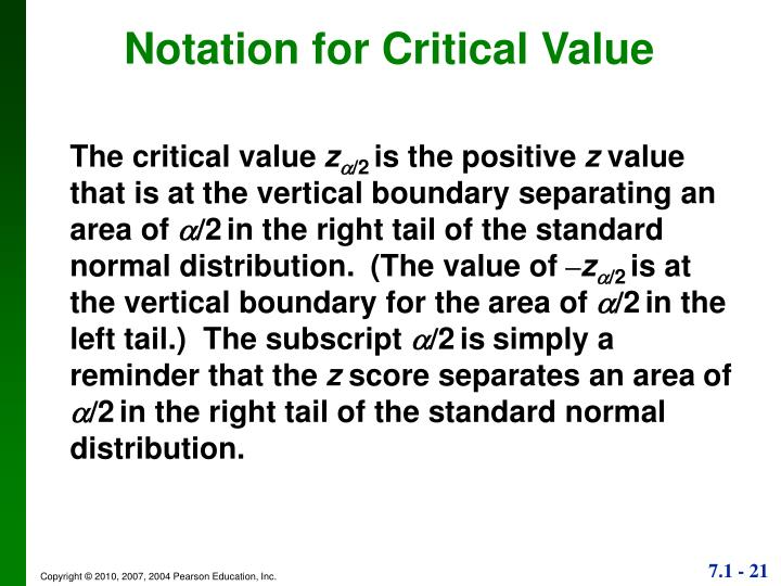 Notation for Critical Value